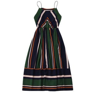 Vintage-Striped-Sleeveless-Summer-Dress-green