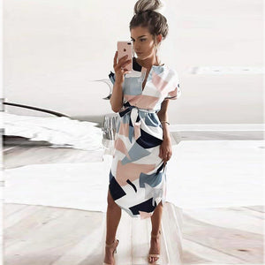 Asymmetrical Geometric Knee-Length Dress
