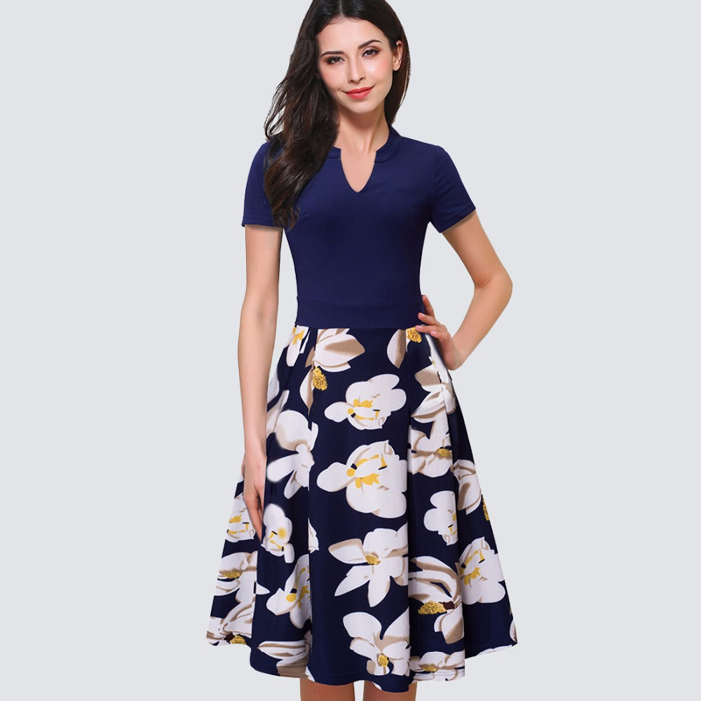Floral Print Short Sleeve Business Casual Dress