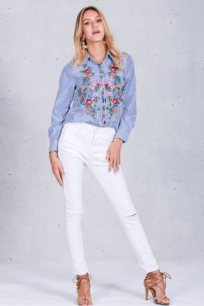 Vintage Embroidery Long Sleeve Blouse