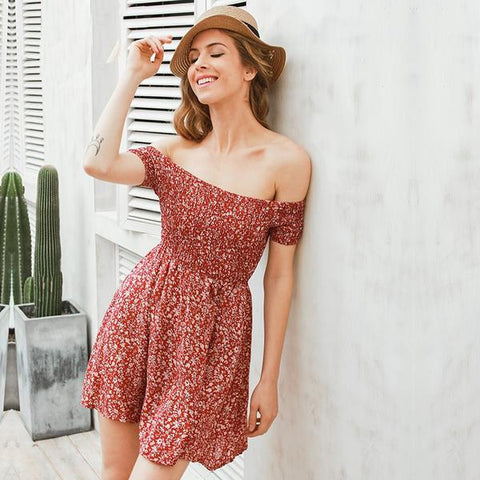 Vintage-Off-the-Shoulder-Floral-Short-Dress