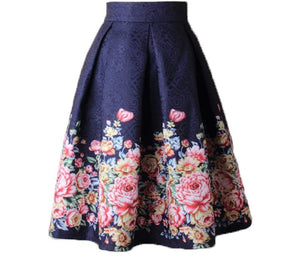 High Waist Floral Skirt Ball Gown Vintage