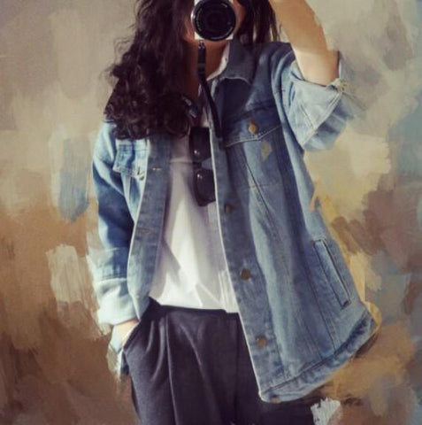 Oversized Solid Denim Jean Coat