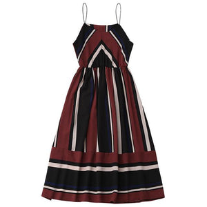 Vintage-Striped-Sleeveless-Summer-Dress-red