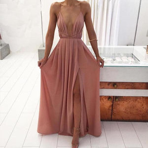 Elegant-Long-Pink-Sleeveless-V-Neck-Maxi-Dress