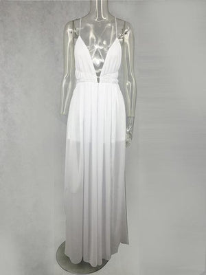 Elegant-Long-White-Sleeveless-V-Neck-Maxi-Dress