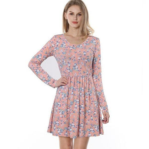Long-Sleeve-Pink-Retro-Floral-Dress