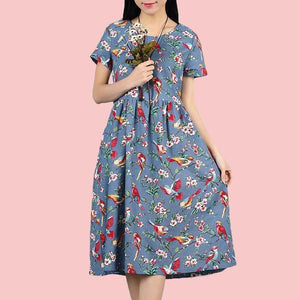 Light-Blue-Casual-Floral-Summer-Dress