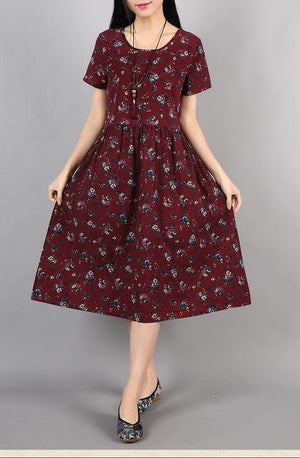 Red-Casual-Floral-Summer-Dress