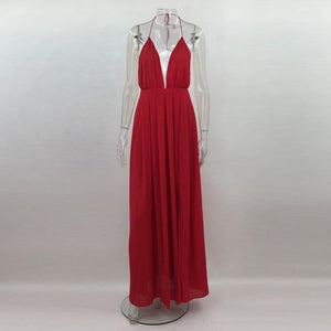 Elegant-Long-Red-Sleeveless-V-Neck-Maxi-Dress