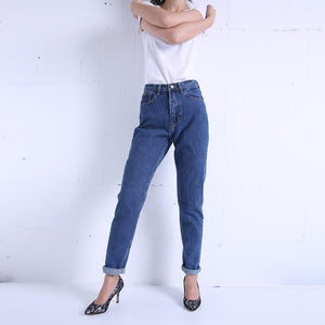 Slim-Vintage-High-Waist-Jeans-Dark-Blue