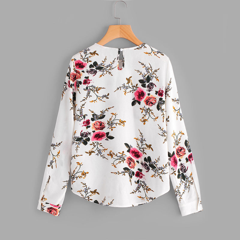Flower Print Keyhole Back Curve Casual Blouse