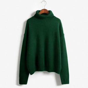 autumn-long-sleeve-loose-turtleneck-pullover-green