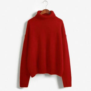 autumn-long-sleeve-loose-turtleneck-pullover-red