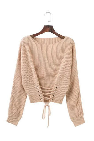 Muted-pink-lace-up-waist-bandage-sweater-2