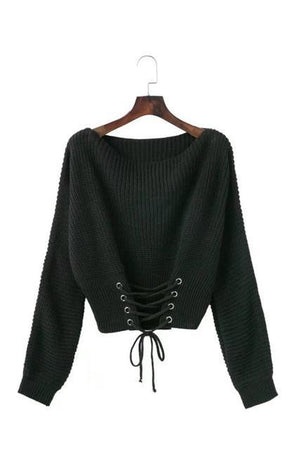Black-lace-up-waist-bandage-sweater