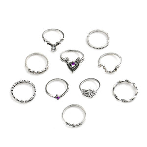 10pcs/Pack Vintage Purple Crystal Rings Lucky
