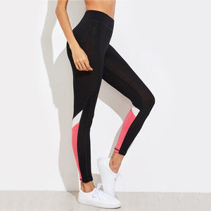 Pink & White Color Block Leggings