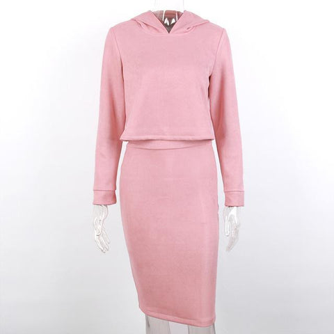 Pink Two Piece Sweater and Pencil Skirt