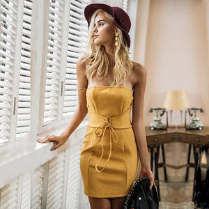 yellow-strapless-dress