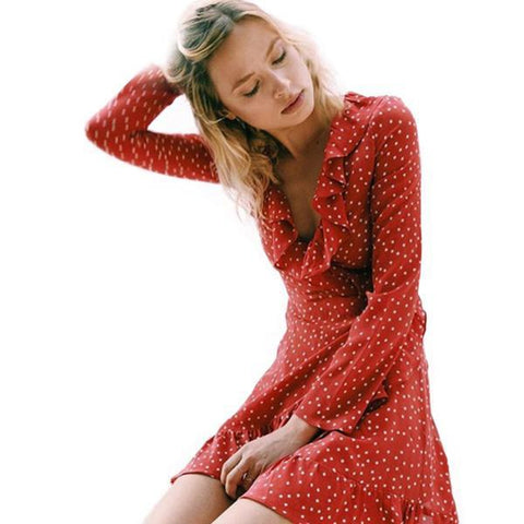 Retro-Short-Red-Long-Sleeve-Ruffle-Dress