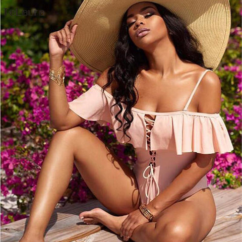 Off the Shoulder Monokini Ruffle Bodysuit