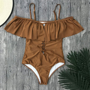 Exile Off the Shoulder Monokini Ruffle Bodysuit