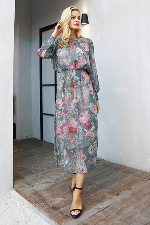 Elegant floral print long dress