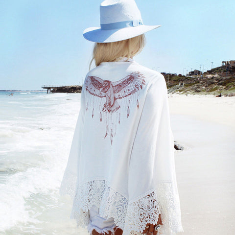 White Crochet Beach Tunic Cover-up