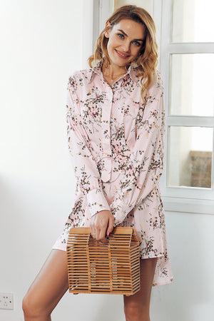 Floral Mini Shirt Dress