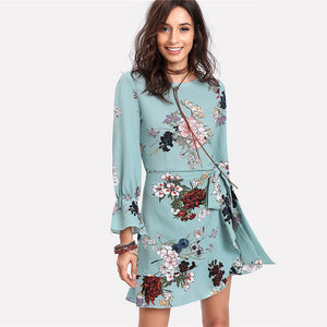 Length Sleeve Floral Belted Dress
