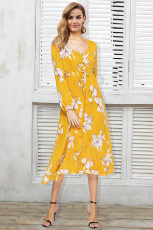 V Neck Boho Long Floral Dress