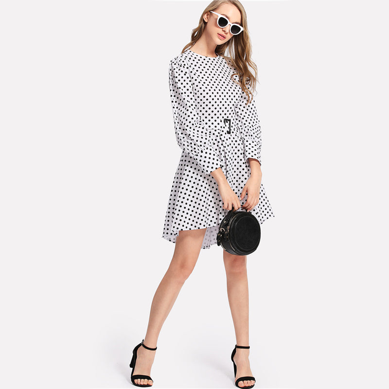 Belted Polka Dot Dress