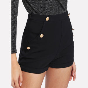 Black Button Shorts