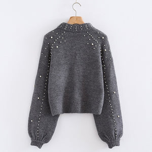 Pearl Beading Turtleneck