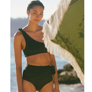 Exile High Waist Knotted Single Shoulder Bikini
