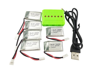 6-Pack Battery Kit with Charger for Hubsan Drones