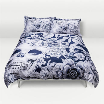 White & Blue Skull Bedding Set