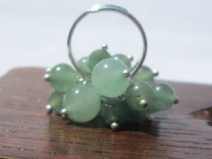 Green Aventurine Bunch Ring, Heart Chakra Adjustable Silver Ring Healing Money Ring Chakra - Healing Atlas