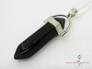 Black Obsidian Crystal Healing Point Necklace Black Obsidian Chakra Pendant Black Obsidian Healing - Healing Atlas