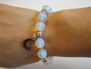 Crescent Moon and Star Charm Bracelet, Moon & Star Bracelet, Star and Crescent Moon Gemstone - Healing Atlas