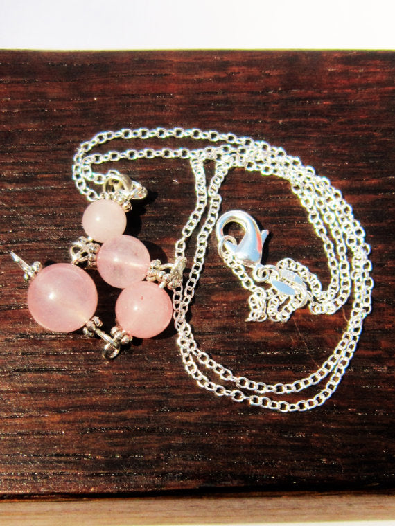 Rose Quartz Chain Necklace, Rose Quartz Heart Chakra Chain, Healing Money Love Pendant, Meditation - Healing Atlas