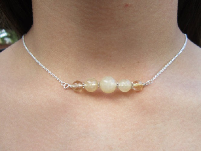 Citrine Bar Necklace, Simple Citrine Necklace, Minimalist Citrine Necklace, Delicate Citrine - Healing Atlas