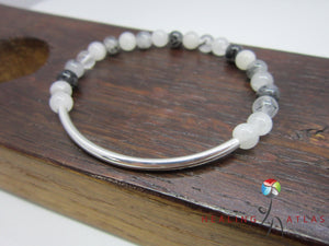 Rutilated Quartz Silver Tube Mala Bracelet Rutilated Quartz Chakra Mala Rutilated Quartz Align - Healing Atlas