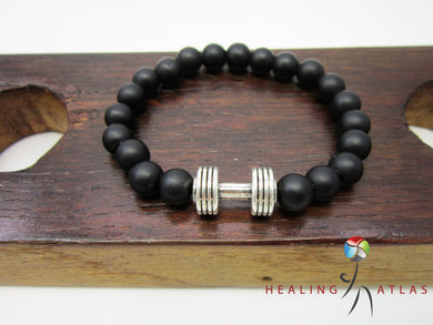 Black Onyx Dumbbell Bracelet Onyx Fitness Bracelet Unisex Black Gemstone Dumbbell - Healing Atlas