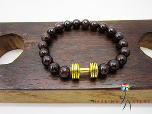 Garnet Dumbbell Bracelet Garnet Fitness Bracelet Unisex Red Gemstone Dumbbell Charm Garnet Work Out - Healing Atlas