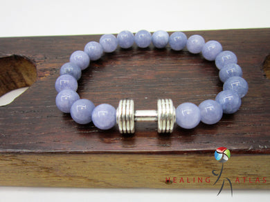 Angelite  Dumbbell Bracelet Angelite Fitness Bracelet Unisex Blue Angelite Gemstone Dumbbell - Healing Atlas
