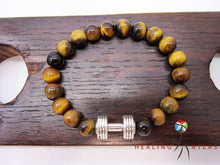 Tiger Eye Dumbbell Bracelet Tiger Eye Fitness Mala Unisex Tiger Eye Gemstone Dumbbell Charm - Healing Atlas