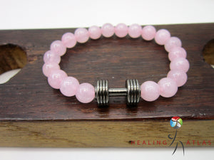 Rose Quartz Dumbbell Bracelet Rose Quartz Fitness Bracelet Unisex Pink Gemstone Dumbbell - Healing Atlas