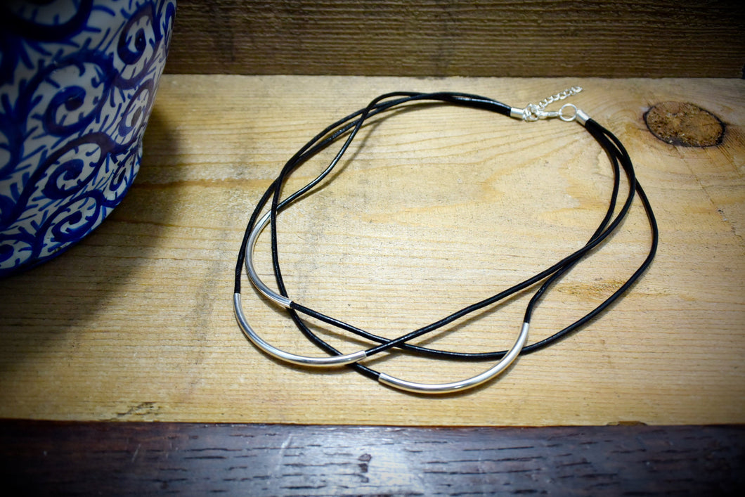 Black Leather Silver Tube Multistrand Necklace Choose your Leather Cord 3 Strand Leather Curved  Silver Tube Leather Cord Necklace - Healing Atlas